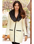 Faux-fur Trim Textured Sweater Coat Photo