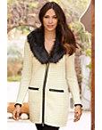Faux-fur Trim Textured Sweater Coat Photo