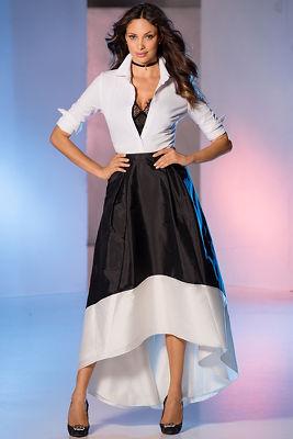 Colorblock hi-lo skirt