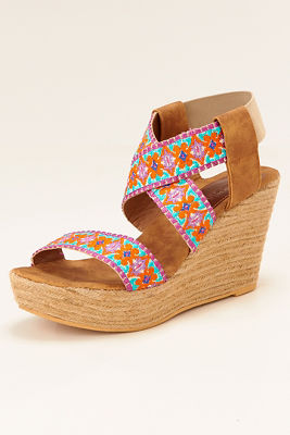 Floral embroidered wedge heel