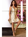 Plunge Gold Fit-and-flare Dress Photo