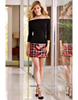 Sequin Plaid Mini Skirt Photo