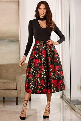 Poppy printed full skirt