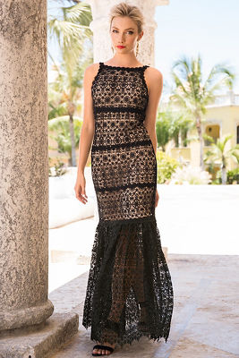 Open back lace gown
