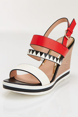 Triple strap graphic wedge heel