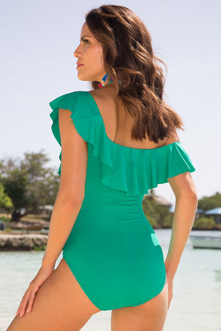Ruffle off-the-shoulder one-piece swimsuit image