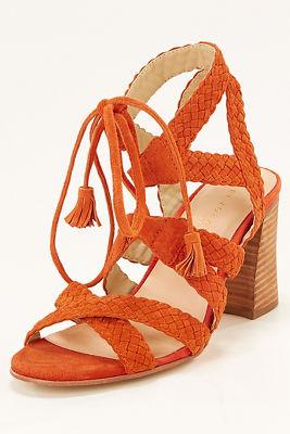 Braided chunky heel sandal