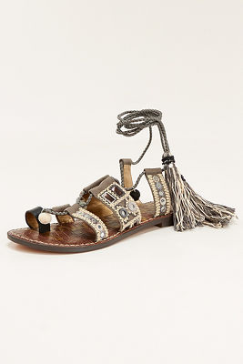 pom-pom lace-up sandal