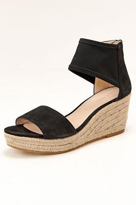 Mesh ankle strap wedge heel