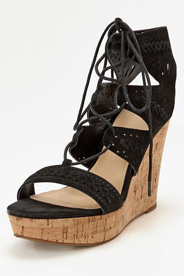 Lace-up wedge heel