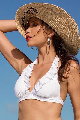 Ruffle halter bikini top