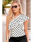 Bias Dot One-shoulder Blouse Photo