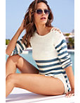 Lace-up Shoulder Stripe Sweater Photo