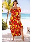 Lemon Print Off-the-shoulder Maxi Dress Photo