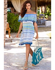 Off-the-shoulder Tassel Stripe Dress Photo