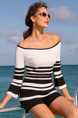 Off-the-shoulder flare sleeve stripe sweater