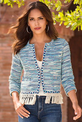 Blue fringe tweed jacket