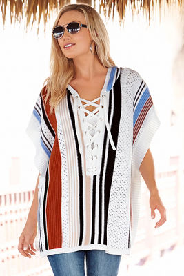 Striped lace-up poncho sweater