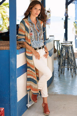 Textured striped duster