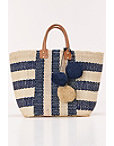 Stripe Pom-pom Tote Bag Photo