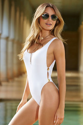 Button detail one-piece swimsuit