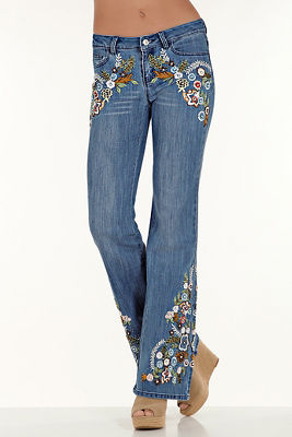 Embroidered sparkle flare jean
