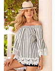 Off-the-shoulder Stripe Lace Sleeve Blouse Photo