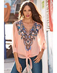 V-neck Cold-shoulder Embellished Blouse Photo