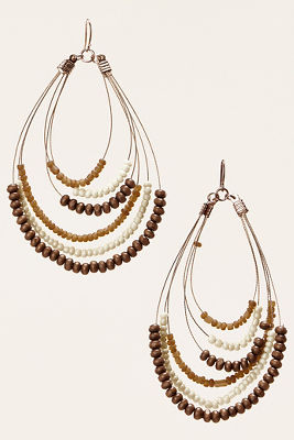 Natural beaded teardrop earrings