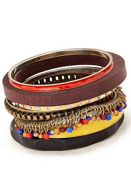 Wood and seed bead bangles