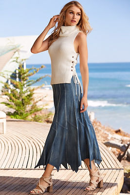 Handkerchief denim maxi skirt