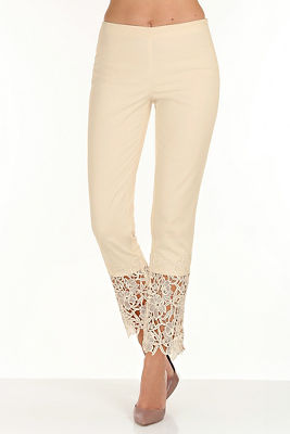 Lace trim side zip pant