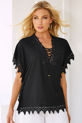 Lace trim lace-up tunic top