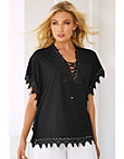 Lace Trim Lace-up Tunic Top Photo