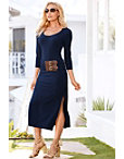 Three-quarter Sleeve It Belted Dress Photo