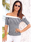 Gingham Off-the-shoulder Sweater Photo