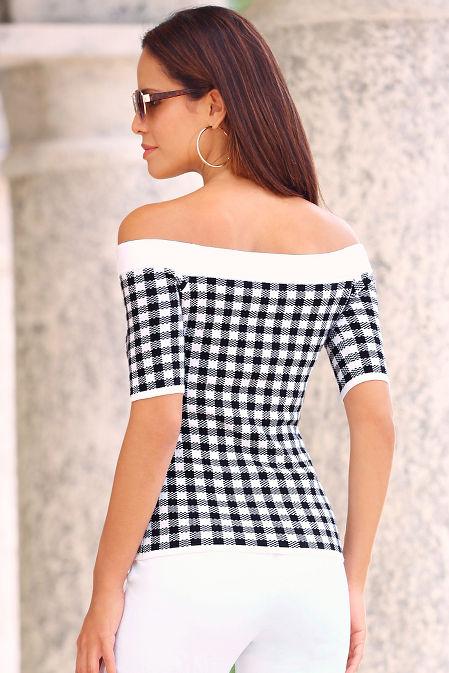 Gingham off-the-shoulder sweater image