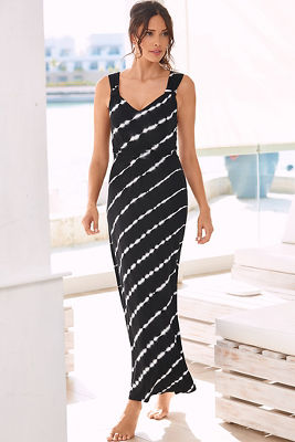 Stripe tie-dye maxi dress