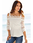 Lace Sleeve Cold-shoulder Blouse Photo