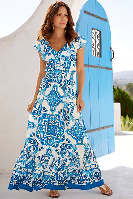 Blue tile maxi dress