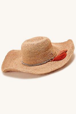 Blush tassel floppy hat