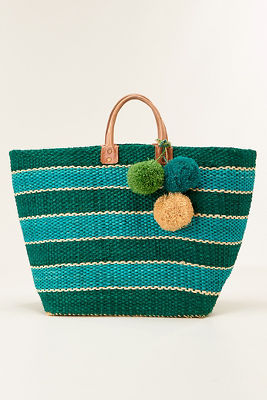 Bold stripe straw tote bag