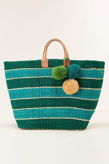 Bold stripe straw tote bag image