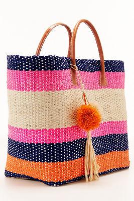 Bright stripe tote bag