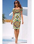 Cap Sleeve Tile Print Sheath Dress Photo