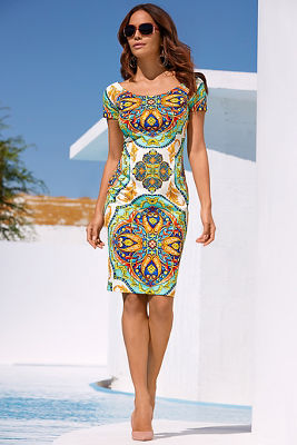 Cap sleeve tile print sheath dress