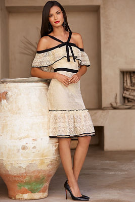 Cold shoulder halter lace dress