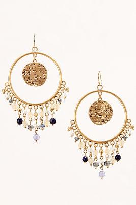 Dangling circle beaded earrings