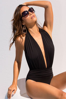 Dramatic plunge one-piece swimsuit