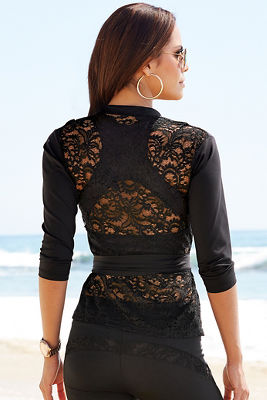 Lace back wrap top